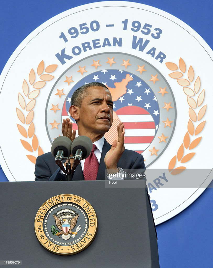 President Barack Obama speaks at the 60th Anniversary of the Korean War Armistice at the Korean War Veterans Memorial on July 27 2013 in Washington DC