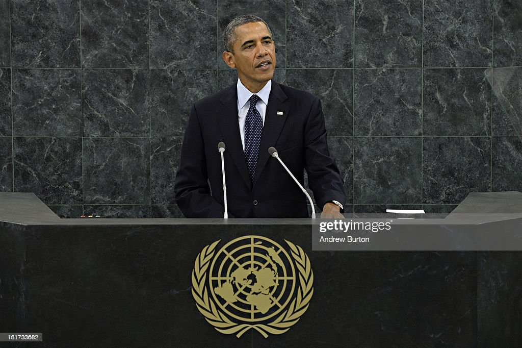 S President Barack Obama speaks at the 68th United Nations General Assembly on September 24 2013 in New York City Over 120 prime ministers presidents...