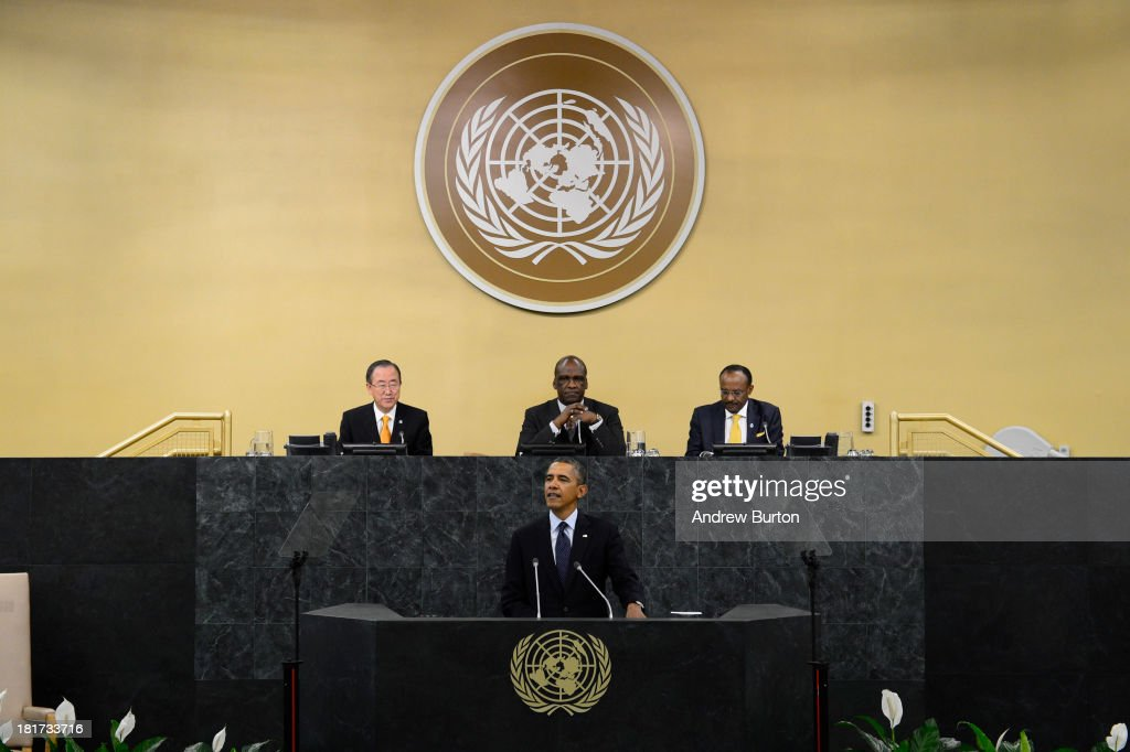 U.S. President <a gi-track='captionPersonalityLinkClicked' href=/galleries/search?phrase=Barack+Obama&family=editorial&specificpeople=203260 ng-click='$event.stopPropagation()'>Barack Obama</a> speaks at the 68th United Nations General Assembly on September 24, 2013 in New York City. Over 120 prime ministers, presidents and monarchs are gathering this week at the U.N. for the annual meeting.