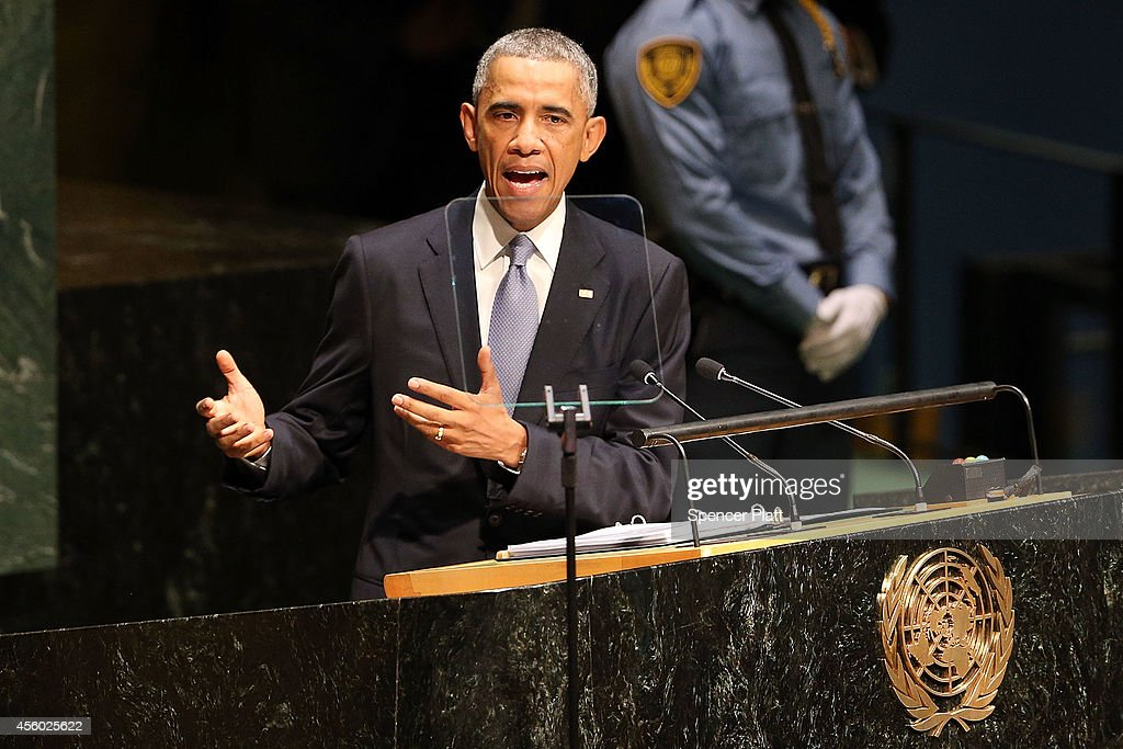 President Barack Obama speaks at the 69th Session of the United Nations General Assembly at United Nations Headquarters on September 24, 2014 in New York City. World leaders, activists and protesters have converged on New York City for the annual UN event that brings together the global leaders for a week of meetings and conferences. This year's General Assembly has highlighted the problem of global warming and how countries need to strive to reduce greenhouse gas emissions.