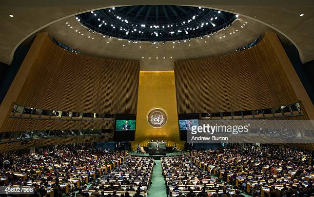 S President Barack Obama speaks at the 69th United Nations General Assembly at United Nations Headquarters on September 24 2014 in New York City The...