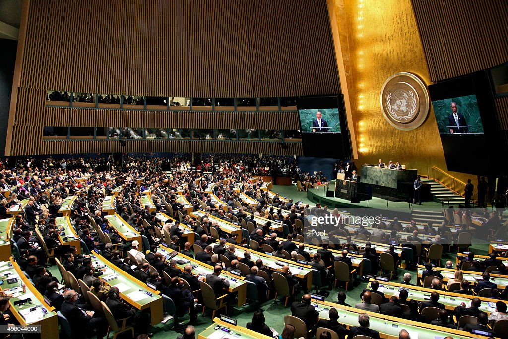 US President Barack Obama speaks at the 69th United Nations General Assembly at United Nations Headquarters on September 24 2014 in New York City The...
