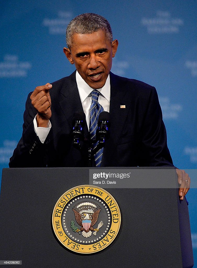 S President Barack Obama speaks at the American Legion National Convention on August 26 2014 in Charlotte North Carolina Obama announced a series of...