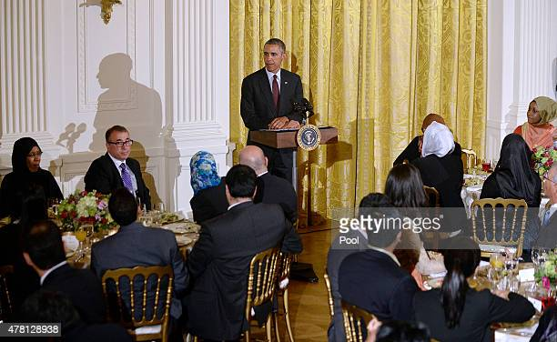 S President Barack Obama speaks at the annual Iftar dinner celebrating the Muslim holy month of Ramadan in the East Room of the White House July 22...