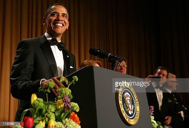 President Barack Obama speaks at the annual White House Correspondent's Association Gala at the Washington Hilton hotel April 30 2011 in Washington DC