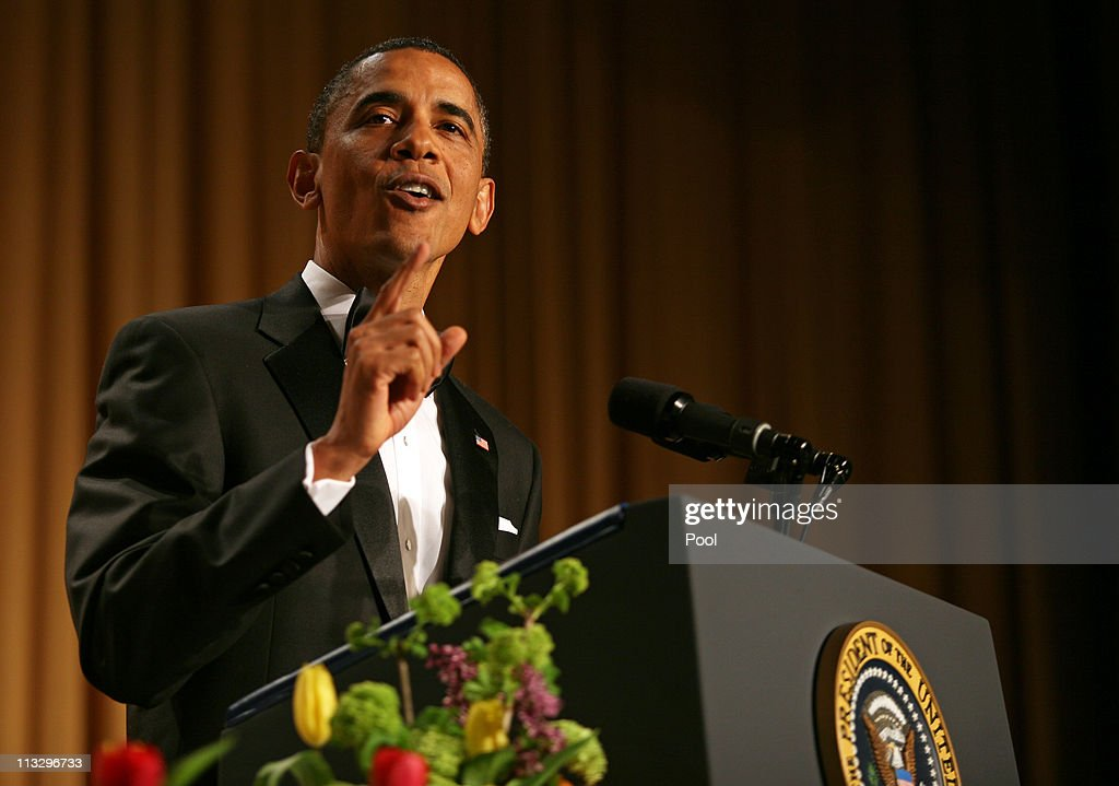 US President <a gi-track='captionPersonalityLinkClicked' href=/galleries/search?phrase=Barack+Obama&family=editorial&specificpeople=203260 ng-click='$event.stopPropagation()'>Barack Obama</a> speaks at the annual White House Correspondent's Association Gala at the Washington Hilton hotel April 30, 2011 in Washington, DC.