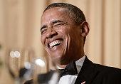 US President Barack Obama speaks at the annual White House Correspondent's Association Gala at the Washington Hilton hotel May 3 2014 in Washington...