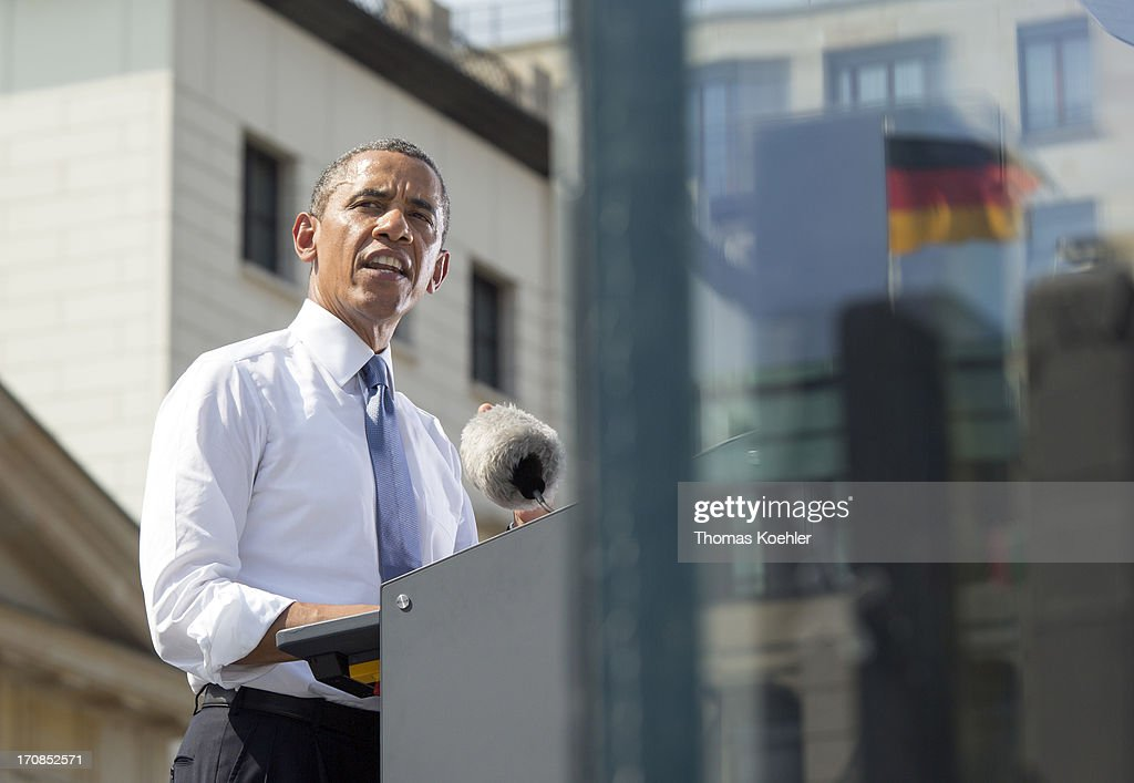 U.S. President <a gi-track='captionPersonalityLinkClicked' href=/galleries/search?phrase=Barack+Obama&family=editorial&specificpeople=203260 ng-click='$event.stopPropagation()'>Barack Obama</a> speaks at the Brandenburg Gate on June 19, 2013 in Berlin, Germany. Obama is set to speak on the east side of the Brandenburg Gate, 50 years after John F. Kennedy famously declared his solidarity with the citizens of Berlin.