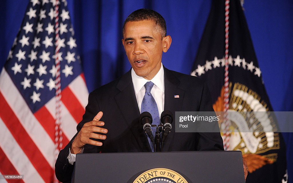 U.S. President <a gi-track='captionPersonalityLinkClicked' href=/galleries/search?phrase=Barack+Obama&family=editorial&specificpeople=203260 ng-click='$event.stopPropagation()'>Barack Obama</a> speaks at the Business Council dinner February 27, 2013 at the Park Hyatt Hotel in Washington, DC. The Business Council is comprised of business leaders in the United States.