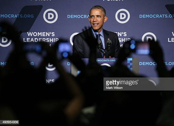 S President Barack Obama speaks at the Democratic National Committee's Women's Leadership Forum October 23 2015 in Washington DC The DNC is holding...