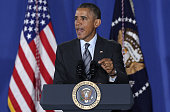 S President Barack Obama speaks at the Department of Homeland Security about the administration's fiscal year 2016 budget request released earlier...