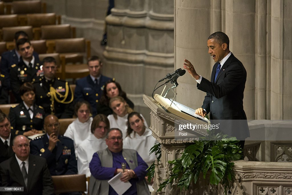 U.S. President <a gi-track='captionPersonalityLinkClicked' href=/galleries/search?phrase=Barack+Obama&family=editorial&specificpeople=203260 ng-click='$event.stopPropagation()'>Barack Obama</a> speaks at the funeral service for the late Sen. Daniel Inouye (D-HI) at the Washington National Cathedral December 21, 2012 in Washington, DC. Inouye was a World War II veteran and then later the second-longest serving senator in history.