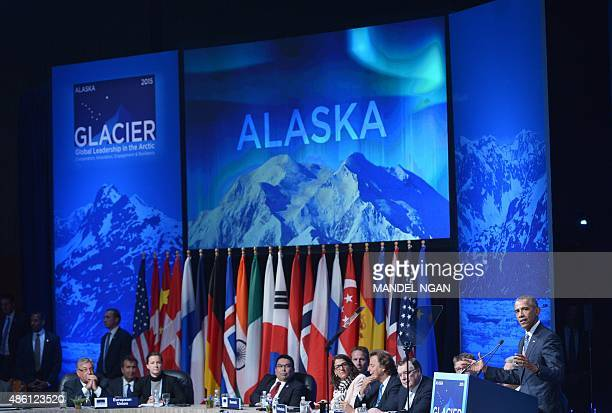 US President Barack Obama speaks at the Global Leadership in the Arctic Cooperation Innovation Engagement and Resilience Conference in the Denaina...