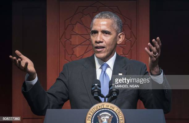 US President Barack Obama speaks at the Islamic Society of Baltimore in Windsor Mill Maryland on February 3 2016 Obama offered an impassioned...
