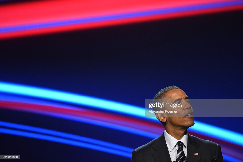 U.S. President Barack Obama speaks at the opening evening of the Hannover Messe trade fair on April 24, 2016 in Hanover, Germany. Obama met with German Chancellor Angela Merkel in Hanover earlier in the day and is scheduled to tour exhibition halls at the fair tomorrow. Hannover Messe is the world's largest industrial trade fair.