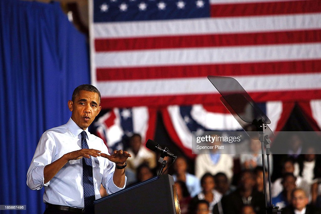 U.S. President <a gi-track='captionPersonalityLinkClicked' href=/galleries/search?phrase=Barack+Obama&family=editorial&specificpeople=203260 ng-click='$event.stopPropagation()'>Barack Obama</a> speaks at the Pathways in Technology Early College High School in the Crown Heights section of Brooklyn on October 25, 2013 in New York City. President Obama had mentioned the school in a part of Brooklyn that's struggled with poverty and violence during his State of the Union address in February. While in New York Obama will also attend events to raise money for the Democratic National Committee and Democratic Congressional Campaign Committee.