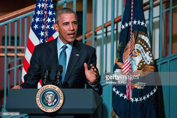 S President Barack Obama speaks at the Rutgers UniversityNewark SI Newhouse Center for Law and Justice on November 2 2015 in Newark New Jersey Obama...