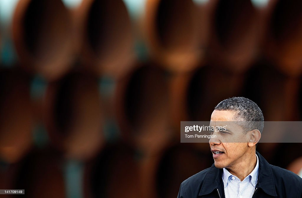 U.S. President <a gi-track='captionPersonalityLinkClicked' href=/galleries/search?phrase=Barack+Obama&family=editorial&specificpeople=203260 ng-click='$event.stopPropagation()'>Barack Obama</a> speaks at the southern site of the Keystone XL pipeline on March 22, 2012 in Cushing, Oklahoma. Obama is pressing federal agencies to expedite the section of the Keystone XL pipeline between Oklahoma and the Gulf Coast
