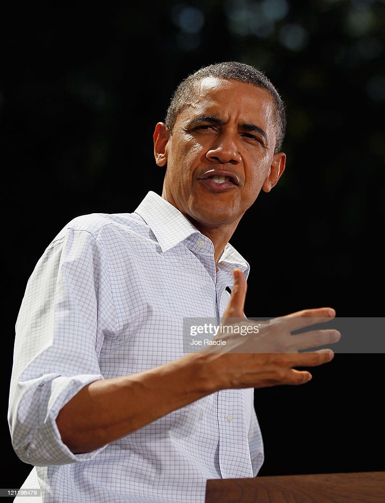 U.S. President <a gi-track='captionPersonalityLinkClicked' href=/galleries/search?phrase=Barack+Obama&family=editorial&specificpeople=203260 ng-click='$event.stopPropagation()'>Barack Obama</a> speaks at the town hall style meeting at the Lower Hannah's Bend Park on August 15, 2011 in Cannon Falls, Minnesota. Obama is on a bus tour of Minnesota, Iowa and Illinois where he is scheduled to speak with people about economic issues at town hall style meetings.