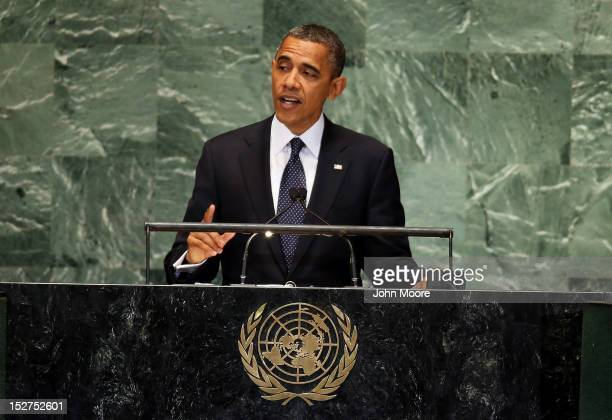 S President Barack Obama speaks at the UN General Assembly meeting on September 25 2012 in New York City The event gathers more than 100 heads of...