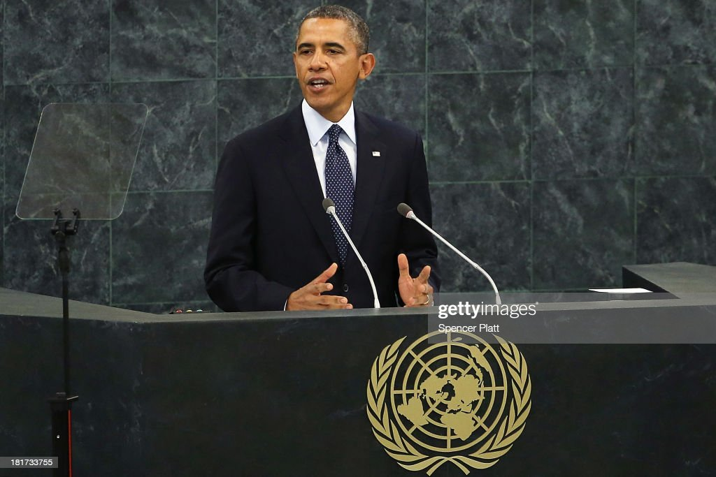 U.S. President <a gi-track='captionPersonalityLinkClicked' href=/galleries/search?phrase=Barack+Obama&family=editorial&specificpeople=203260 ng-click='$event.stopPropagation()'>Barack Obama</a> speaks at the United Nations (U.N.) General Assembly on September 24, 2013 in New York City. The use of chemical weapons in Syria and Iran's nuclear ambitions are expected to feature heavily during the 68th General Assembly, with Iranian President Hassan Rouhani scheduled to speak.