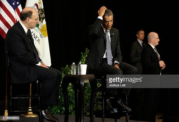 President Barack Obama speaks at the University of Chicago Law School with Law Professor David Strauss on April 7 2016 in Chicago Illinois Obama...