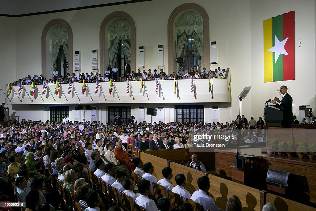 US President Barack Obama speaks at the University of Yangon during his historical first visit to the country on November 19, 2012 in Yangon, Myanmar. Obama is the first US President to visit Myanmar while on a four-day tour of Southeast Asia that also includes Thailand and Cambodia.