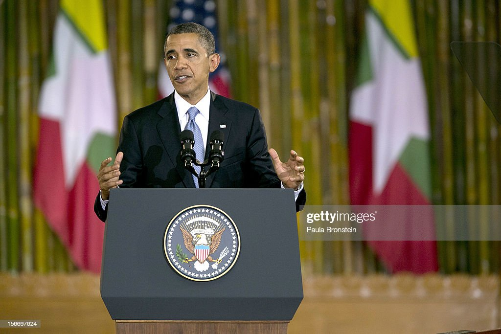 US President <a gi-track='captionPersonalityLinkClicked' href=/galleries/search?phrase=Barack+Obama&family=editorial&specificpeople=203260 ng-click='$event.stopPropagation()'>Barack Obama</a> speaks at the University of Yangon during his historical first visit to the country on November 19, 2012 in Yangon, Myanmar. Obama is the first US President to visit Myanmar while on a four-day tour of Southeast Asia that also includes Thailand and Cambodia.