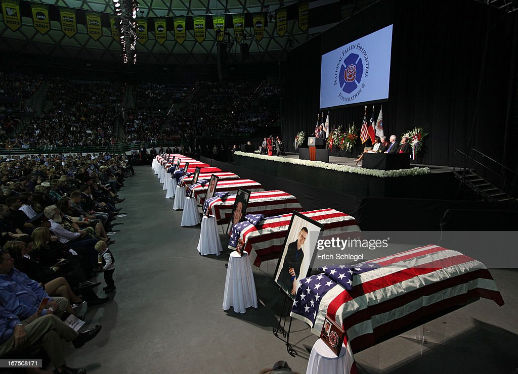 President <a gi-track='captionPersonalityLinkClicked' href=/galleries/search?phrase=Barack+Obama&family=editorial&specificpeople=203260 ng-click='$event.stopPropagation()'>Barack Obama</a> speaks at the West memorial service held at Baylor University April 25, 2013 in Waco, Texas. The memorial service honored the volunteer firefighters that lost their lives at the fertilizer plant explosion in West, Texas last week.