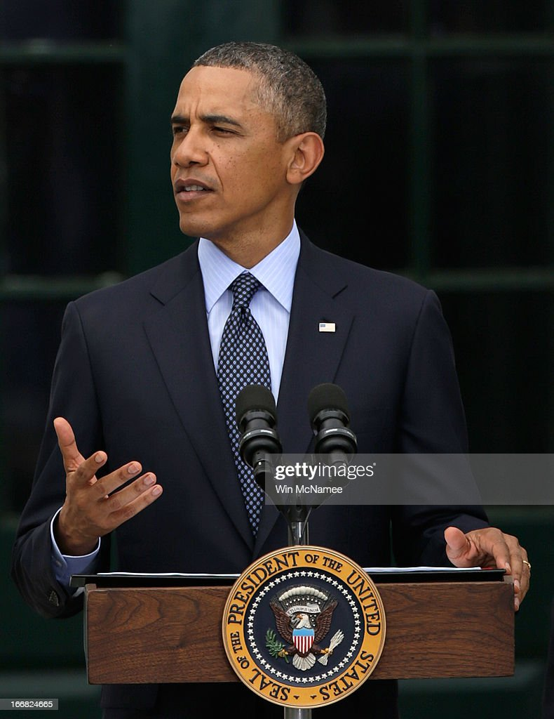 U.S. President <a gi-track='captionPersonalityLinkClicked' href=/galleries/search?phrase=Barack+Obama&family=editorial&specificpeople=203260 ng-click='$event.stopPropagation()'>Barack Obama</a> speaks before officially starting the beginning of the Wounded Warrior Project's Soldier Ride at the White House April 17, 2013 in Washington, DC. The Wounded Warrior Soldier Ride is an event designed to assist wounded U.S. veterans in using cycling to overcome physical, mental, or emotional wounds.
