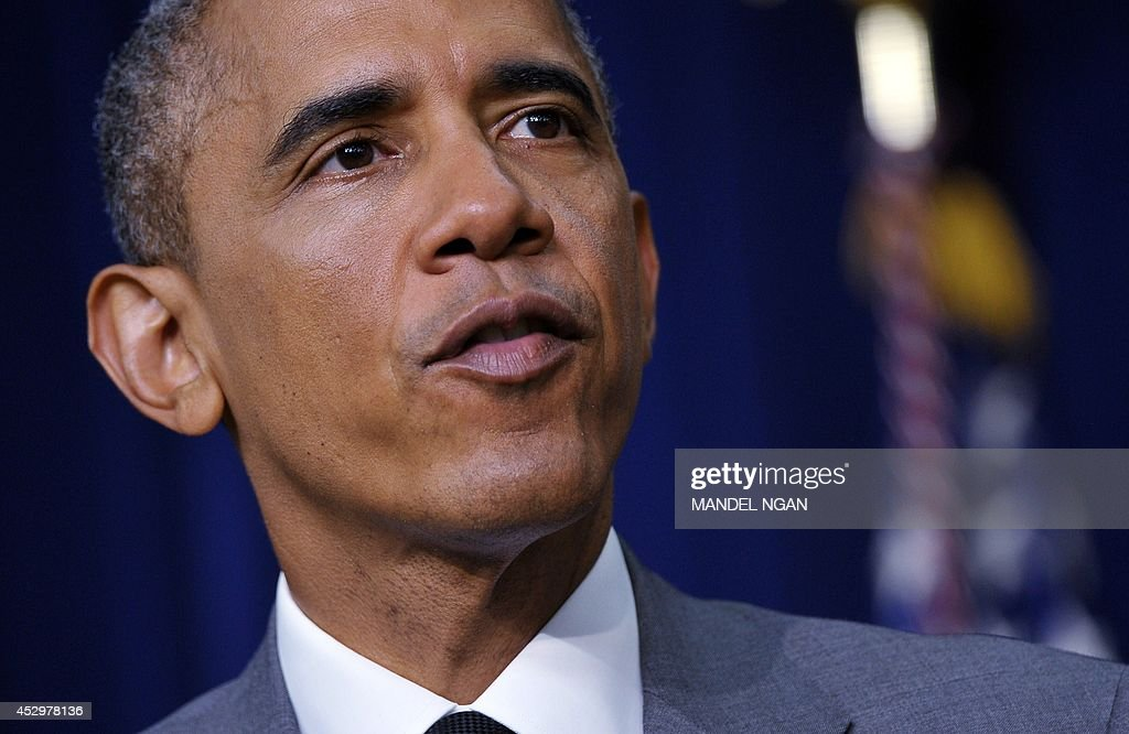 US President <a gi-track='captionPersonalityLinkClicked' href=/galleries/search?phrase=Barack+Obama&family=editorial&specificpeople=203260 ng-click='$event.stopPropagation()'>Barack Obama</a> speaks before signing the Fair Pay and Safe Workplace executive order on July 31, 2014 in the South Court Auditorium of the Eisenhower Executive Office Building, next to the White House in Washington, DC. AFP PHOTO/Mandel NGAN