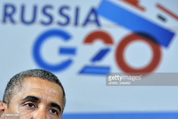 US President Barack Obama speaks during a bilateral meeting with Frances President at the G20 summit on September 6 2013 in Saint Petersburg World...