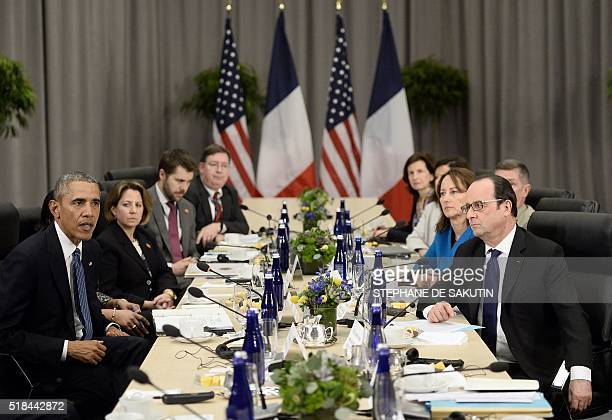 US President Barack Obama speaks during a bilateral meeting with French President Francois Hollande on the sidelines of the Nuclear Security Summit...
