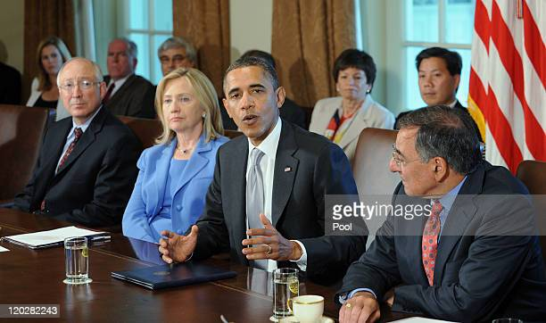 S President Barack Obama speaks during a Cabinet meeting as US Secretary of the Interior Ken Salazar US Secretary of State Hillary Rodham Clinton and...