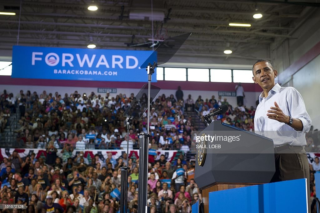 US President Barack Obama speaks during a campaign event at Kissimmee Civic Center in Kissimmee Florida September 8 during the first day of a 2day...