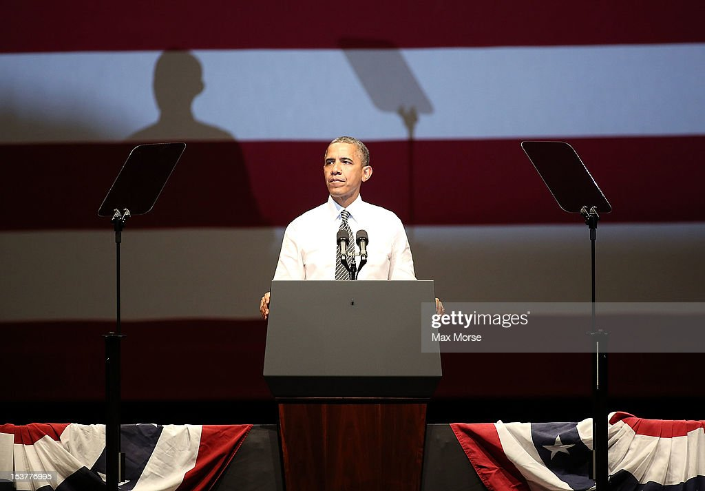 US President Barack Obama speaks during a campaign event at the Bill Graham Civic Auditorium on October 8, 2012 in San Francisco, California.