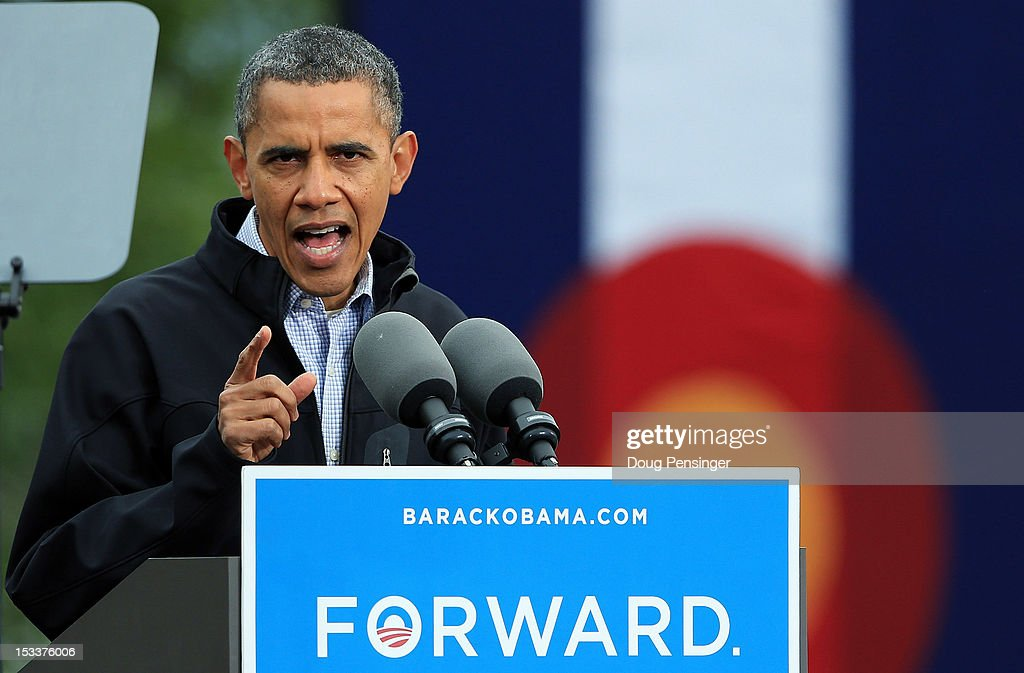 U.S. President Barack Obama speaks during a campaign rally at Sloan's Lake Park on October 4, 2012 in Denver, Colorado. Obama spoke the morning after the first Presidential debate at the University of Denver.