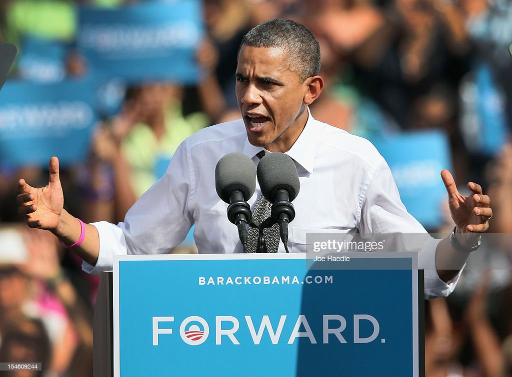 U.S. President <a gi-track='captionPersonalityLinkClicked' href=/galleries/search?phrase=Barack+Obama&family=editorial&specificpeople=203260 ng-click='$event.stopPropagation()'>Barack Obama</a> speaks during a campaign rally at the Delray Beach Tennis Center on October 23, 2012 in Delray Beach, Florida. Obama continues to campaign across the U.S. in the run-up to the November 6, presidential election.