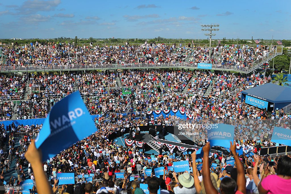 U.S. President Barack Obama speaks during a campaign rally at the Delray Beach Tennis Center on October 23, 2012 in Delray Beach, Florida. Obama continues to campaign across the U.S. in the run-up to the November 6, presidential election.