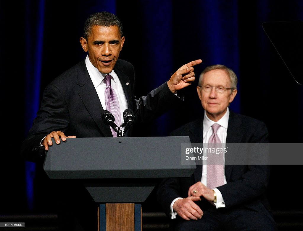 S President Barack Obama speaks during a campaign rally for US Senate Majority Leader Harry Reid at the Aria Resort Casino at CityCenter July 8 2010...