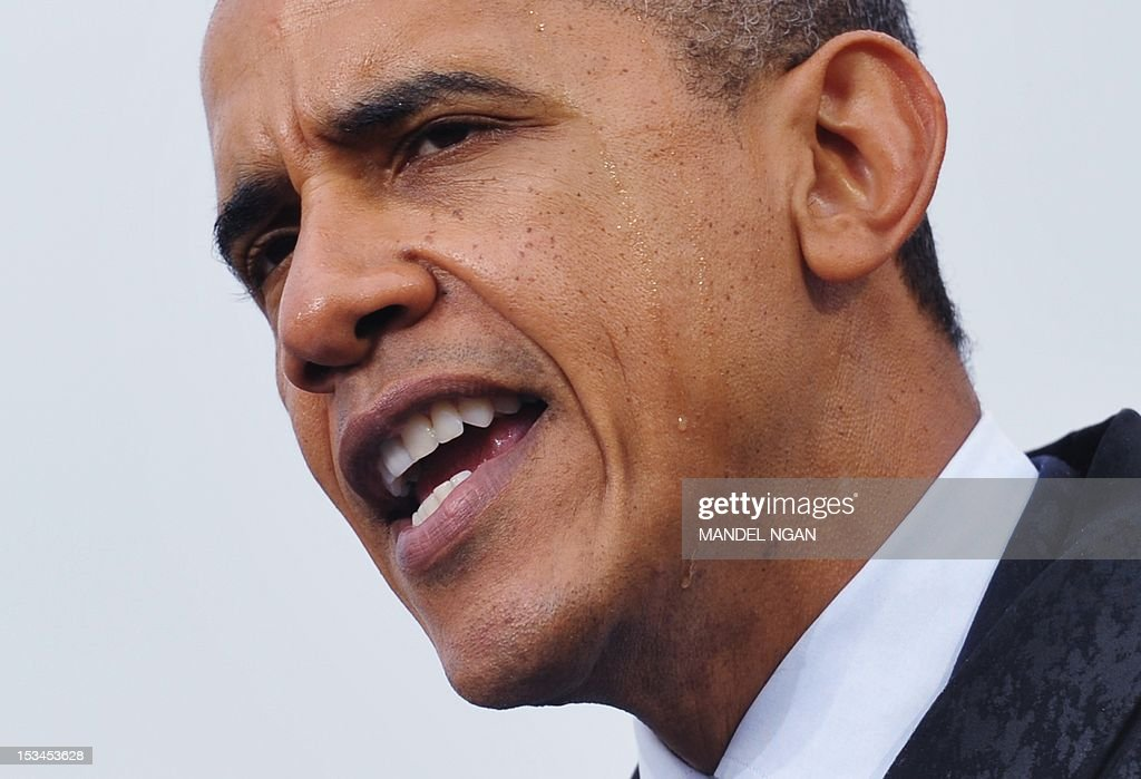 US President Barack Obama speaks during a campaign rally on October 5, 2012 at Cleveland State University in Cleveland, Ohio. AFPHOTO/Mandel NGAN