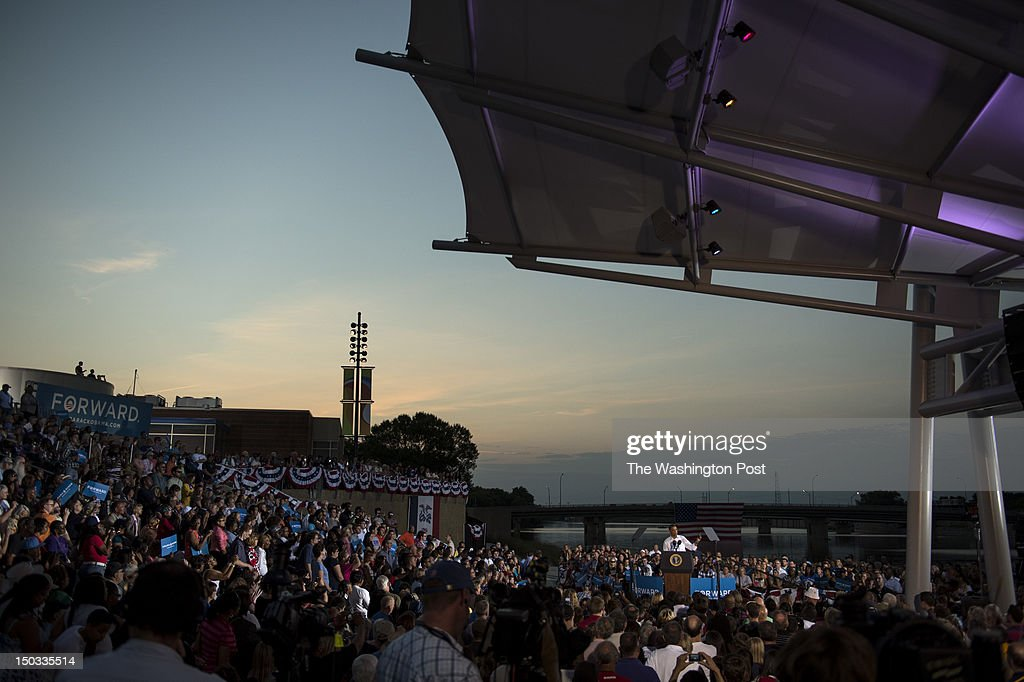 AUGUST 14 -- President Barack Obama speaks during a campaign stop at RiverLoop Amphitheatre, Waterloo Center for the Arts in Waterloo, Iowa, on Tuesday, August 14, 2012.