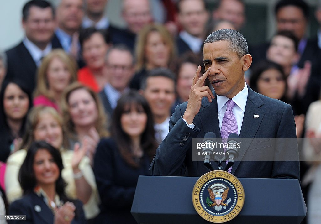 US President <a gi-track='captionPersonalityLinkClicked' href=/galleries/search?phrase=Barack+Obama&family=editorial&specificpeople=203260 ng-click='$event.stopPropagation()'>Barack Obama</a> speaks during a ceremony to honor National Teacher of the Year Jeff Charbonneau, a 9-12th grade Chemistry, Physics and Engineering teacher in Washington state, and States Teachers of the Year at the Rose Garden of the White House in Washington, DC, on April 23, 2013. AFP PHOTO/Jewel Samad