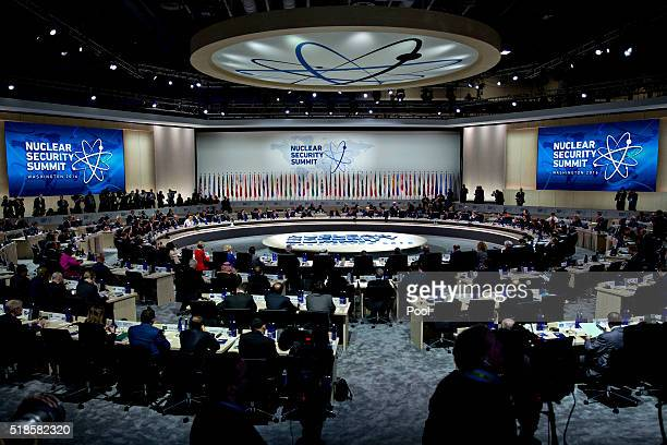 US President Barack Obama speaks during a closing session at the Nuclear Security Summit April 1 2016 in Washington DC After a spate of terrorist...