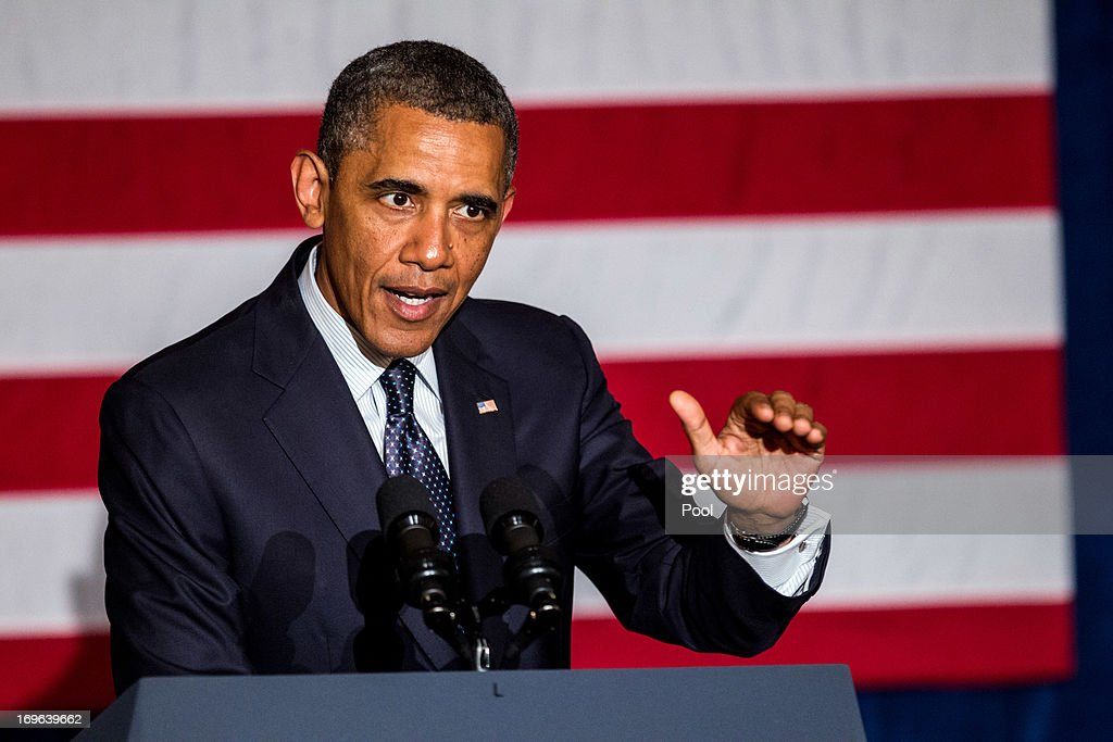 U.S. President <a gi-track='captionPersonalityLinkClicked' href=/galleries/search?phrase=Barack+Obama&family=editorial&specificpeople=203260 ng-click='$event.stopPropagation()'>Barack Obama</a> speaks during a fundraiser for the Democratic Congressional Campaign Committee at the Chicago Hilton on May 29, 2013 in Chicago, Illinois. Obama is helping to raise money for U.S. House Democrats heading into the 2014 midterm elections.