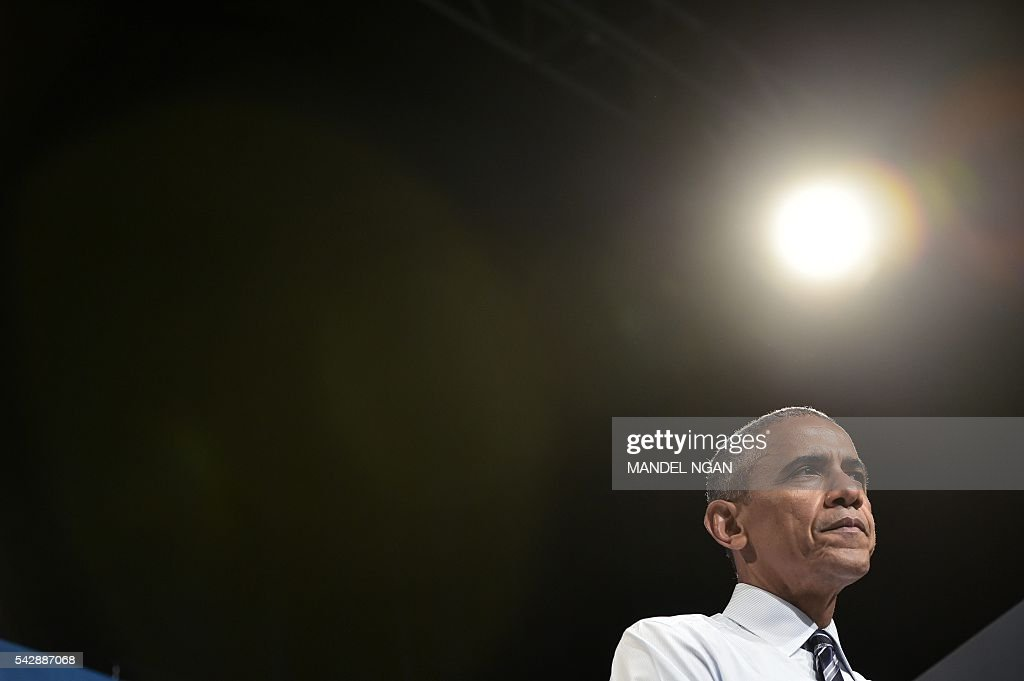 US President Barack Obama speaks during a fundraiser for Washington Governor Jay Inslee at the Washington State Convention Center in Seattle, Washington on June 24, 2016. / AFP / MANDEL