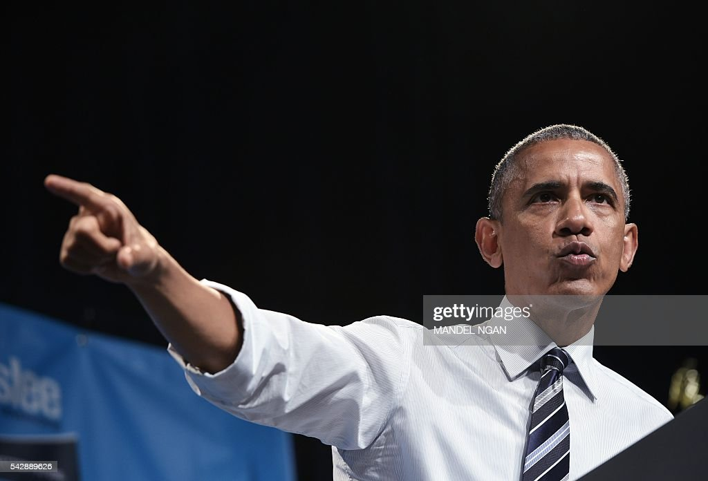US President Barack Obama speaks during a fundraiser for Washington Governor Jay Inslee at the Washington State Convention Center in Seattle, Washington on June 24, 2016. / AFP / Mandel Ngan