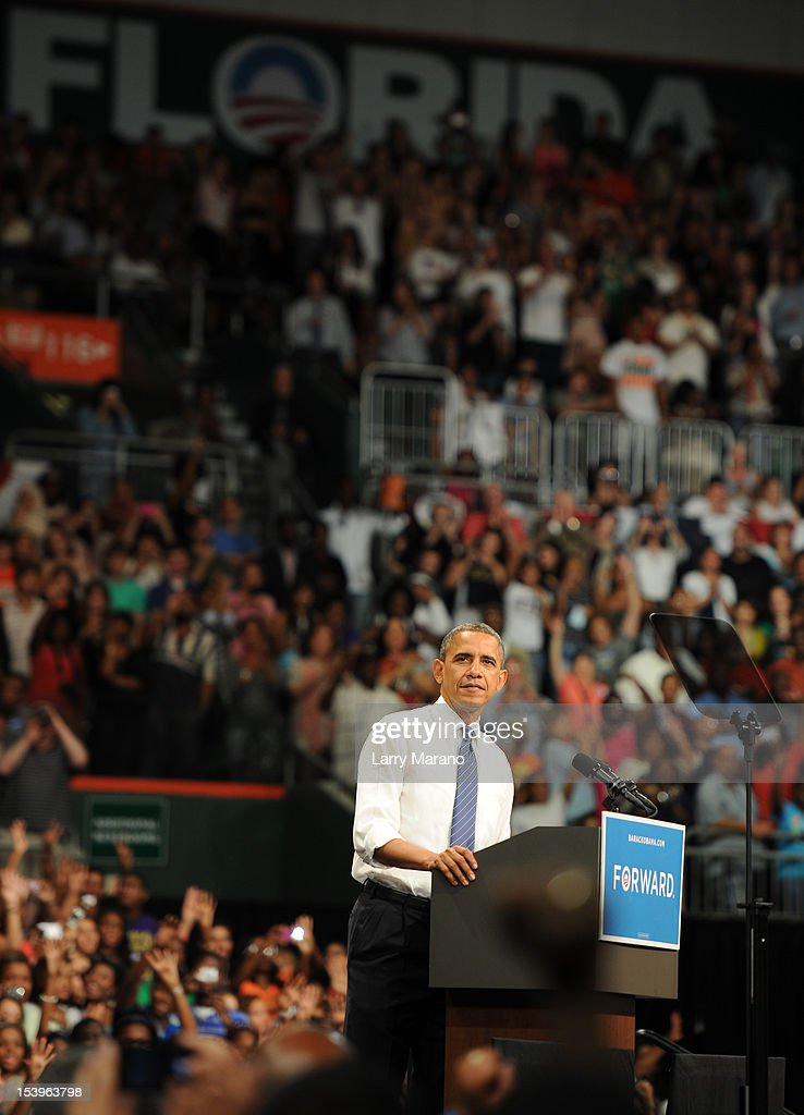 US President Barack Obama speaks during a Grassroots Event at Bank United Center on October 11, 2012 in Miami, Florida.