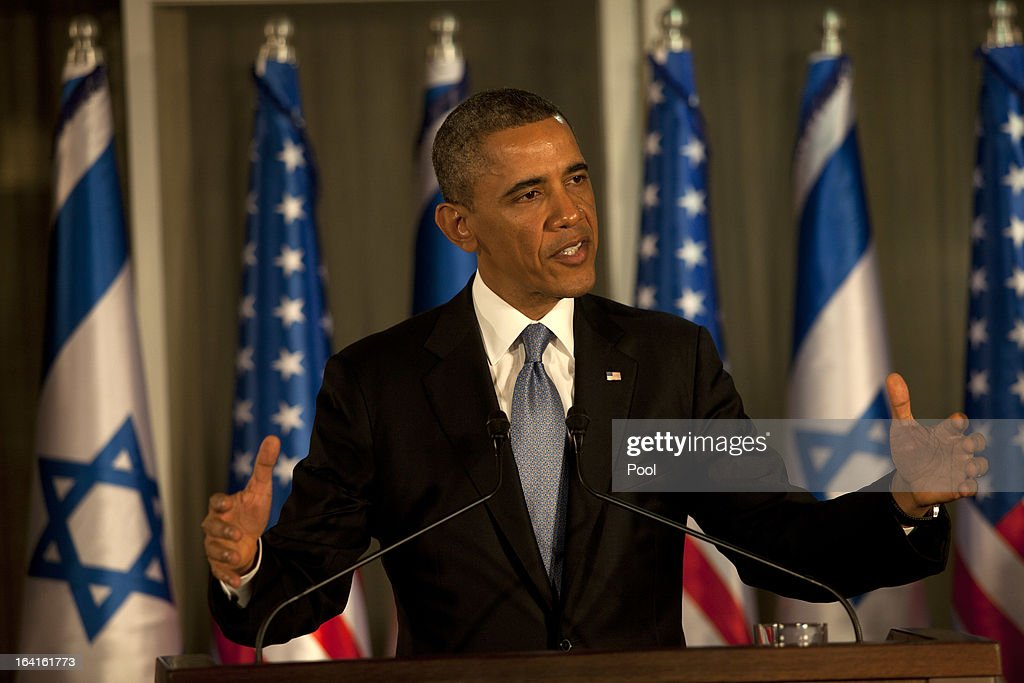 U.S. President Barack Obama (L) speaks during a joint news conference held with Israeli Prime Minister Benjamin Netanyahu on March 20, 2013 in Jerusalem, Israel. Obama is making his first visit to the region as president, with his itinerary including meetings with Palestinian and Israeli leaders as well as a visit to the Church of the Nativity in Bethlehem.