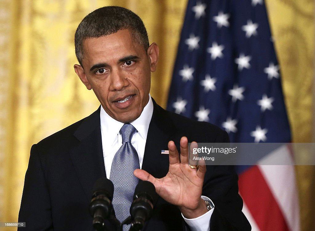 U.S. President <a gi-track='captionPersonalityLinkClicked' href=/galleries/search?phrase=Barack+Obama&family=editorial&specificpeople=203260 ng-click='$event.stopPropagation()'>Barack Obama</a> speaks during a joint news conference with British Prime Minister David Cameron in the East Room of the White House May 13, 2013 in Washington, DC. The two leaders discussed the prospect of an European Union-United States trade deal and the ongoing civil war in Syria. During his three-day visit to the United States, Cameron will also be briefed by the FBI about the Boston Marathon bombings and will travel to New York to take part in United Nations talks on new development goals.